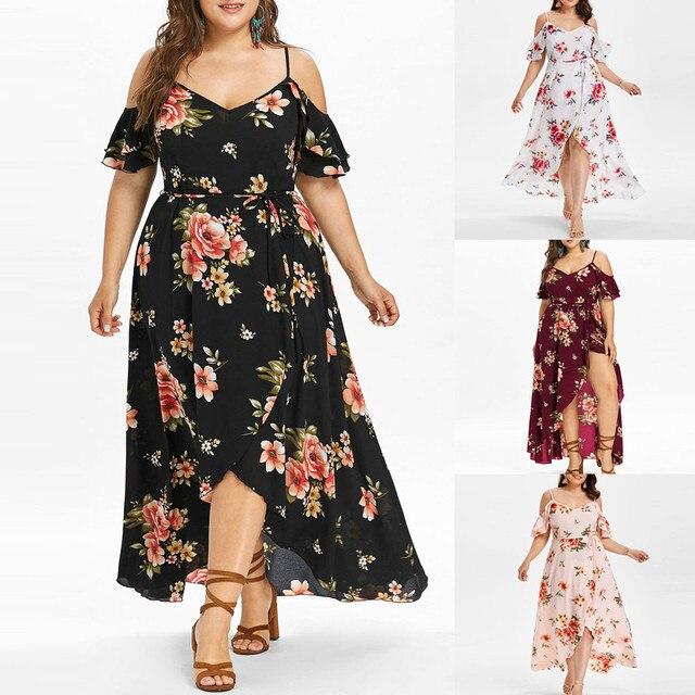 30h Plus Size Summer Dress Casual Short Sleeve Woman Dress Cold Shoulder Boho plus size Flower Print Long Dress платье robe 6