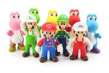 Super Mario Bros Game Action Figures PVC Luigi/ Mario/Colorful Yoshi Best Gifts Super Mario Toys For Children 9pcs/lot