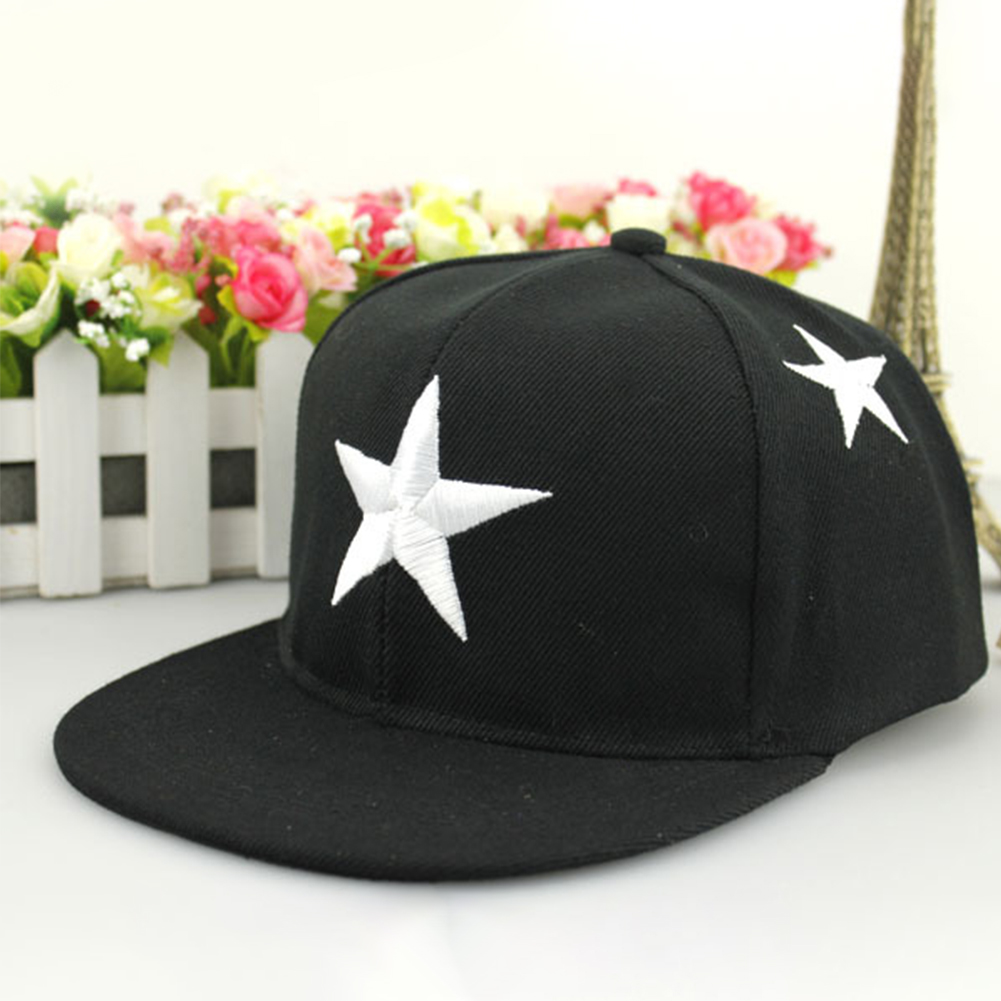 Boys Girls Hip Hop Baseball Cap Adjustable Snap Back Sports Kids Wide Brim Sun Hat Summer Canvas Outdoor Fashion Star Embroidery(China)