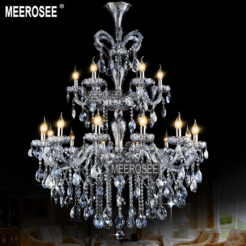 Luxurious Light Blue Maria Theresa Large Crystal Chandelier Light Crystal Lighting Fitting lustres pendentes 18 Lamps