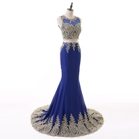 Women Long Maxi Dresses 2019 Sexy Royal Blue Appliques Two Piece Lace Evening Gowns Formal Prom Party Dresses Vestido Festa