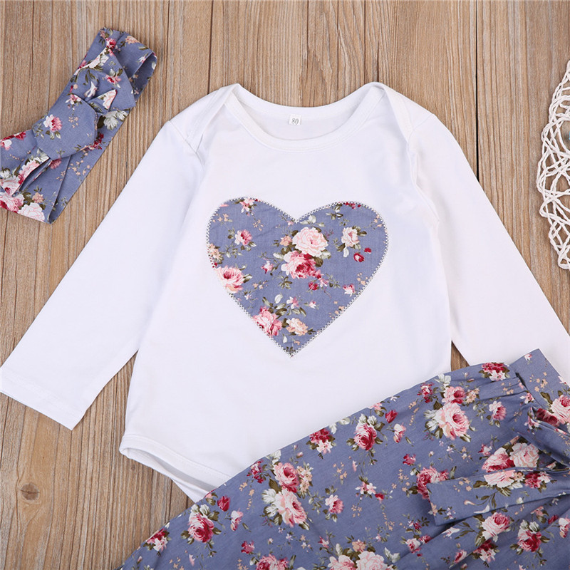 Cute Newborn Baby Girls Clothes New Style Lovely Flower Long Sleeve Romper+Pants+Headdress Cotton Baby Clothing Set 0-24M