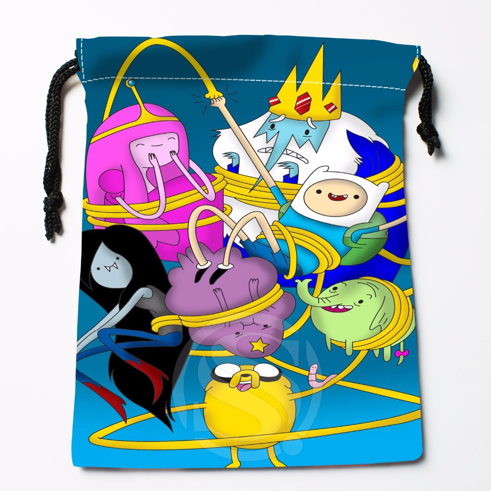 Fl-Q142 New adventure time &3 Custom Printed receive bag Bag Compression Type drawstring bags size 18X22cm 711-#Fl142