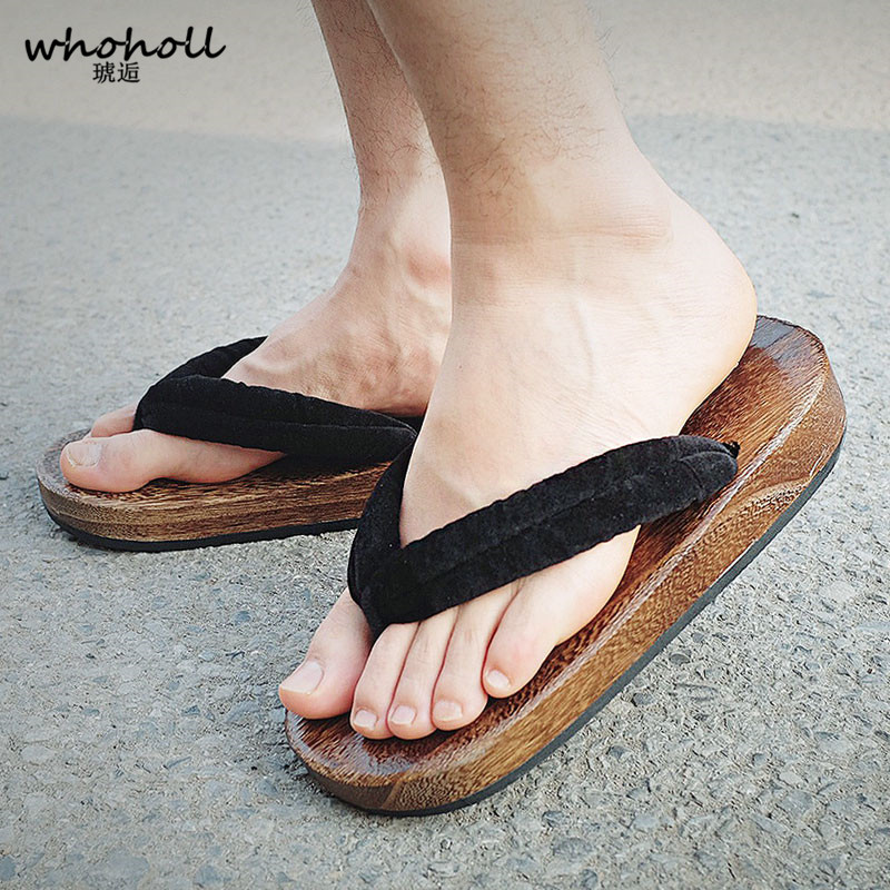 Whoholl Japanese Geta Clogs Man Sandals Wooden Shoes Men Two-toothed Heel Platoform High Summer Sandals Cos Indoor Home Shoes Shoes Men's Shoes