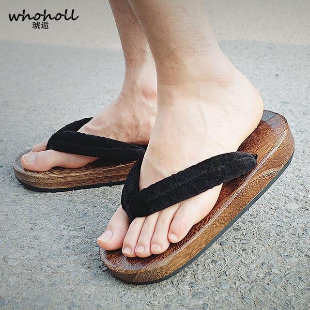 Us 2077 23 Offwhoholl Geta Summer Sandals Man Japanese Wooden Slippers Cos Clogs Mens Flat Flip Flops Thick Sole Antiskid Platform Sandals In