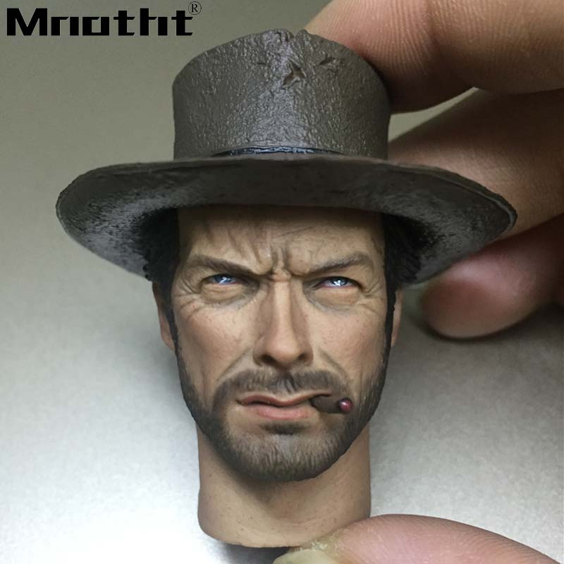 1/6 Scale Eastwood Cowboy Head Sculpt With Hat Cigar for 12in Male Soldier Action Figure Scene Accessories Toys m3 Collection