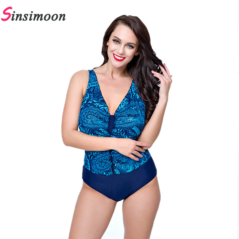 2019 New Floral Print One piece Swimsuit Women Thong Retro Beach wear Vintage Swimwear Female Sexy Bathing suit Monokini Tankini