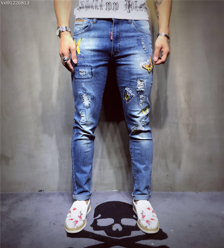 Brand New men's jeans worn holes washed blue trousers Fashion