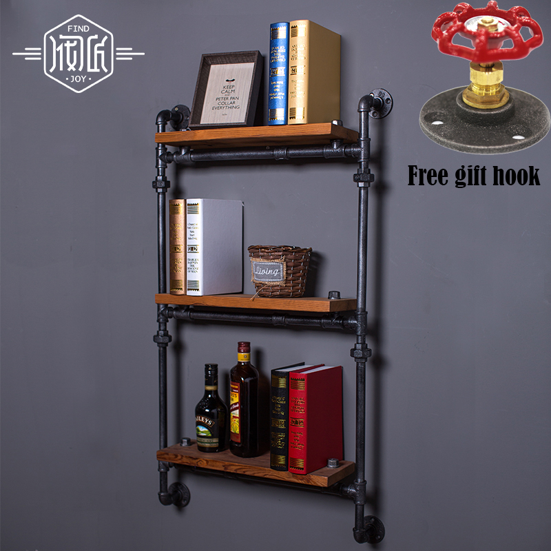 LOFT Art Vintage Wood Wall Mount Shelf Separadores Estante de pared de hierro forjado antiguo americano Bookshelf-Z8