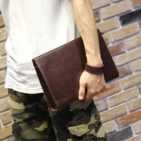 XIAO.P Brand Men Clutch Bags Fashion Crazy Horse PU Leather Zipper Large Capacity Phone Wallet Hand Bags Long Male Clutch Purse