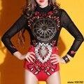 Mulheres Celebridade Estágio Frisado Bordado Bodysuit macacão cantora DJ Dancer Figurino Desgaste Desempenho Bodysuit