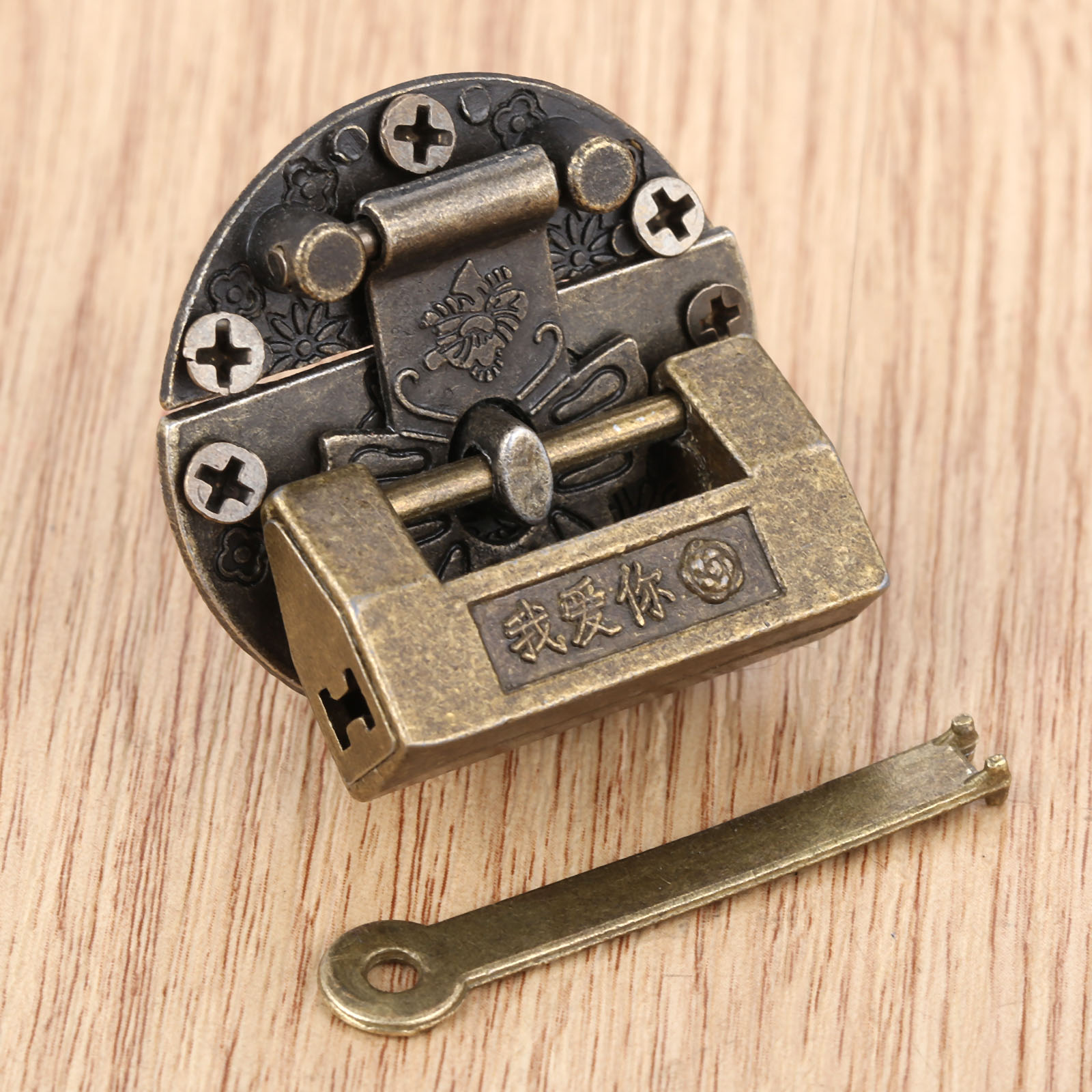 2Pcs Vintage Antique Iron Jewelry Wooden Box Padlock Chinese Old Brass Padlock For Suitcase Drawer Cabinet Key 33*18mm