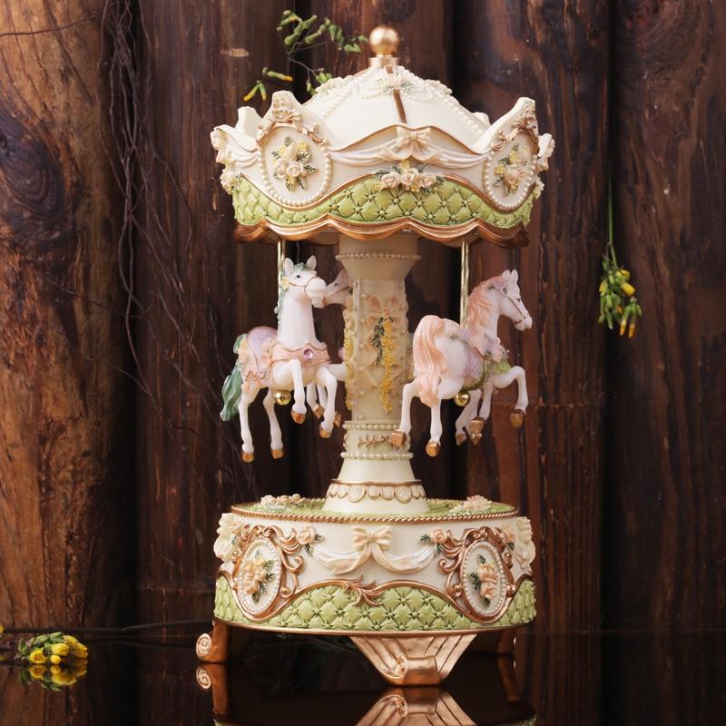 Caja de música de carrusel romántica giratoria regalo de navidad, regalos insólitos, decoración del hogar-in Cajas de música from Hogar y Mascotas    1