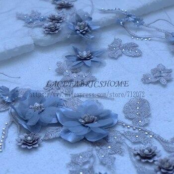 La Belleza New fashion Gray/red/yellow/pink/purple /light blue 3D flowers Rhinestones wedding/evening dress lace fabric 1 yard