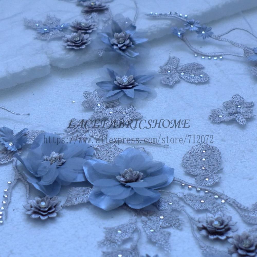 La Belleza Nieuwe fashion Grijs/rood/geel/roze/paars/lichtblauw 3D bloemen Steentjes wedding/avondjurk kant stof 1 yard-in Stof van Huis & Tuin op  Groep 1