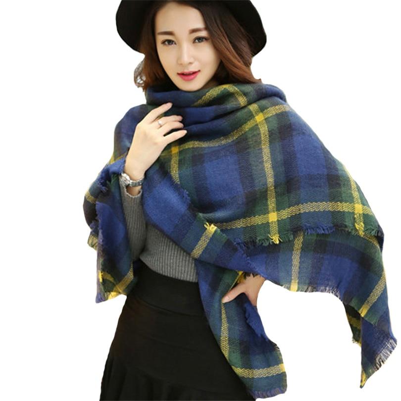 INDJXND D hiver Garder Au Chaud Foulards Femmes Plaid Écharpe En Cachemire Couverture  Surdimensionné Wraps Écharpe En Laine Femmes Pashmina Longue Châles ... 0e6ef9796e0
