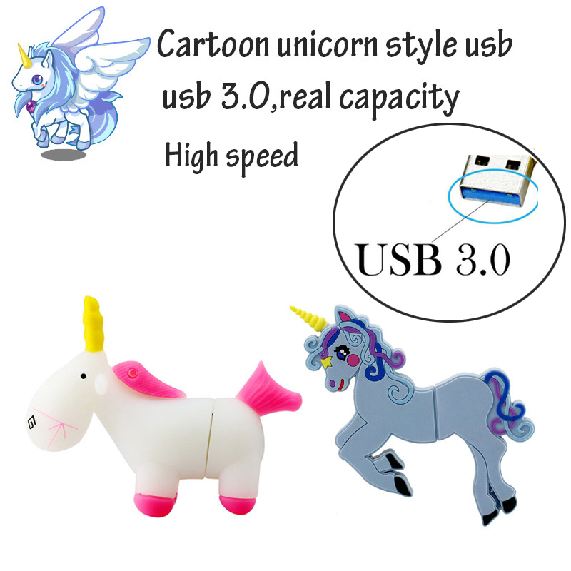 Cartoon white Unicorn pendrive minion usb 3.0 flash drive real capacity cute horse pen drive 4g 8g 16g 32G flash memory U disk