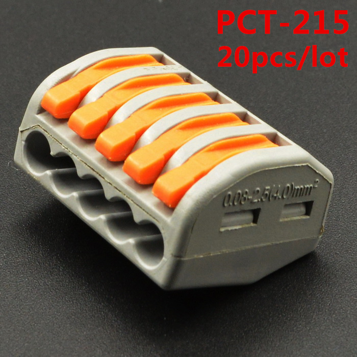 20Pcs WAGO 222-415 PCT-215 PCT215 Universal compact wire wiring 5 Pin connector conductor terminal block lever 0.08-2.5mm2 1pcs 222 415 universal compact wire wiring connector 5 pin conductor terminal block with lever awg 28 12