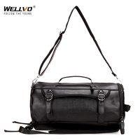 Wellvo Multifuction PU Leather Travel Duffle Bag Men Round Bucket Large Shoulder Messenger Bags for Male Black XA80WC