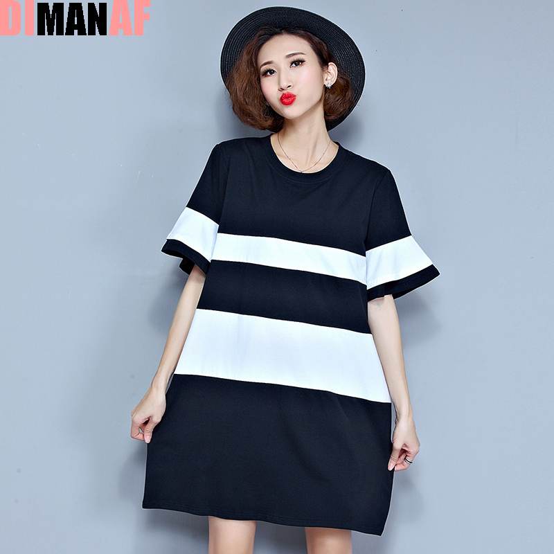Plus size summer style t shirt women black white striped for Plus size summer shirts