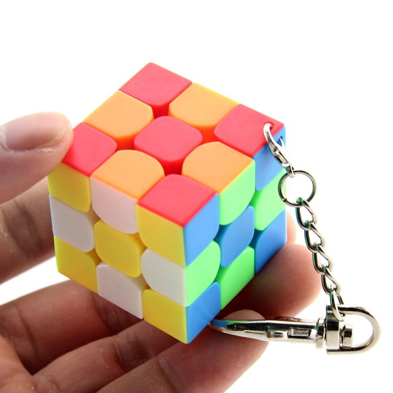 Cubing Classroom Key Chain 3CM 3x3 Magic Cube Creative Cube Hang Decorations - Colorful
