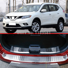 For Nissan X-Trail Rogue 2014 2015 2016 Stainless Steel Inside & Outside Rear Bumper Sill Protector Trim