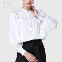 Женский оверсайз натуральный шелк топы блузки Франция Дворец белый розовый длинный фонарь рукав шелковая рубашка camisa blusa feminina LT2095