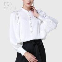 Women oversize natural silk tops blouses France palace white pink long lantern sleeve silk shirt camisa blusa feminina LT2095