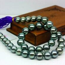 925 silver real natural big Tahitian  black pearl necklace natural pearl necklace round malachite green sea pearl mixed color