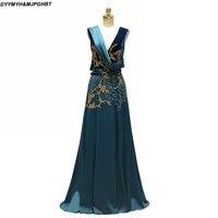 Elegant Hunte Green Long Mother of Bridal Dresses V Neck Heavy Beads Vintage Mother of the Groom Dress