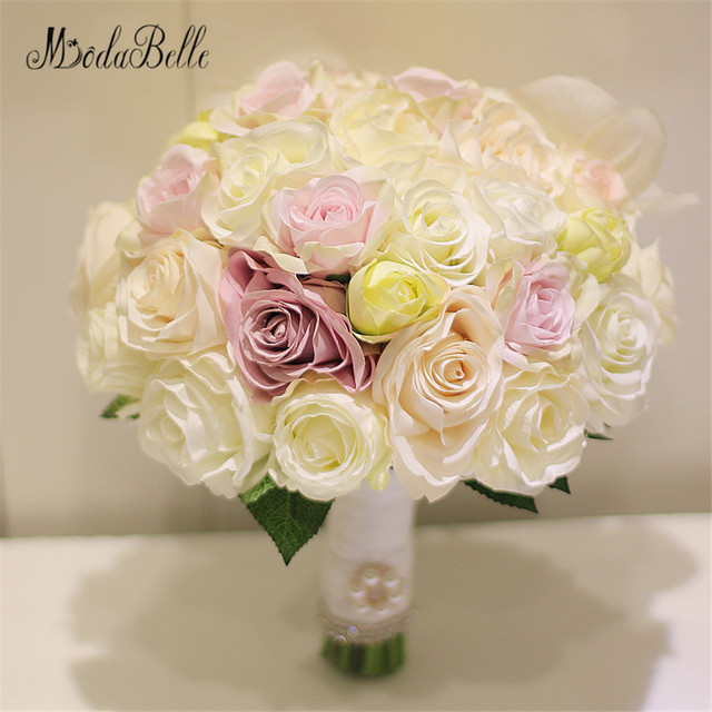 2017 Artificial Wedding Bouquets Rose Bridal Bouquet White Pink Yellow Mixed Brooche Flowers Ramo De