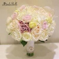 2017 Artificial Wedding Bouquets Rose Bridal Bouquet White Pink Yellow Mixed Brooche Bouquet Flowers Ramo De Novia De Cristal