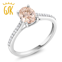 10K White Gold Diamond Accent Engagement Ring Oval Peach Morganite 1 10 Ct