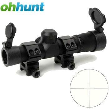 Tactical Ohhunt 4.5x20 1 inch Compact Hunting Rifle Scope Optical Sight P4 Reticle Riflescope With Flip-open Lens Caps