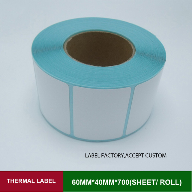 60*40mm label sticker 700 sheets per roll thermal adhesive paper for thermal barcode printer supply custom order and print logo