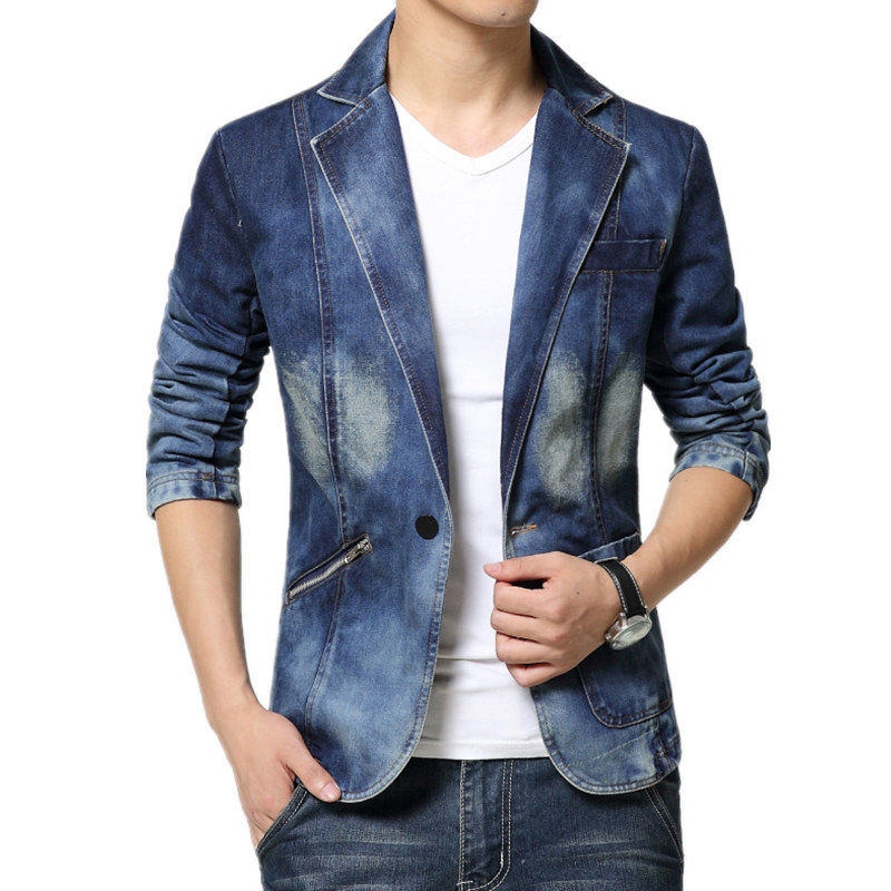 2018 New Arrival Brand Cool Mens Blazer Jacket Trendy Jeans Suits Single Button Casual M ...