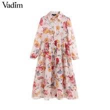 Vadim kadın tatlı şifon çiçek baskı patchwork midi elbise uzun kollu turn down yaka kadın rahat moda vestidos QB848