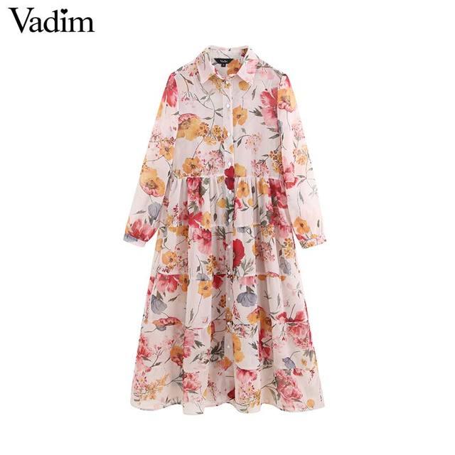 Vadim נשים מתוקה שיפון פרחוני הדפסת טלאים midi שמלה ארוך שרוול להנמיך צווארון נשי מזדמן אופנה vestidos QB848
