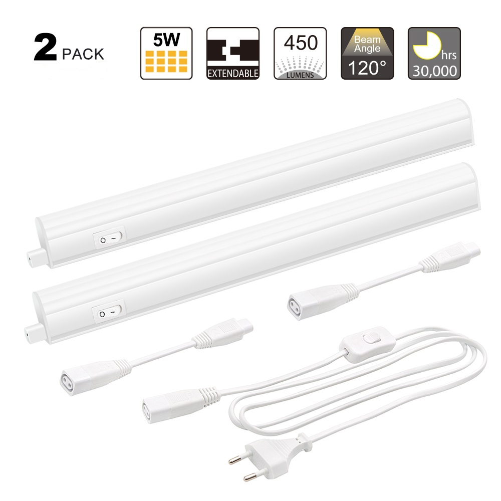 Linkable T5 Fluorescent Batten For Use Under Kitchen Cabinets: Connectible T5 5W LED Kitchen Under Cabinet Lamp Under