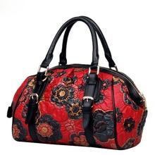 LUOFEIHUA женские сумки из натуральной кожи новая вышитая сумка-тоут винтажная сумка через плечо дизайнерская сумка