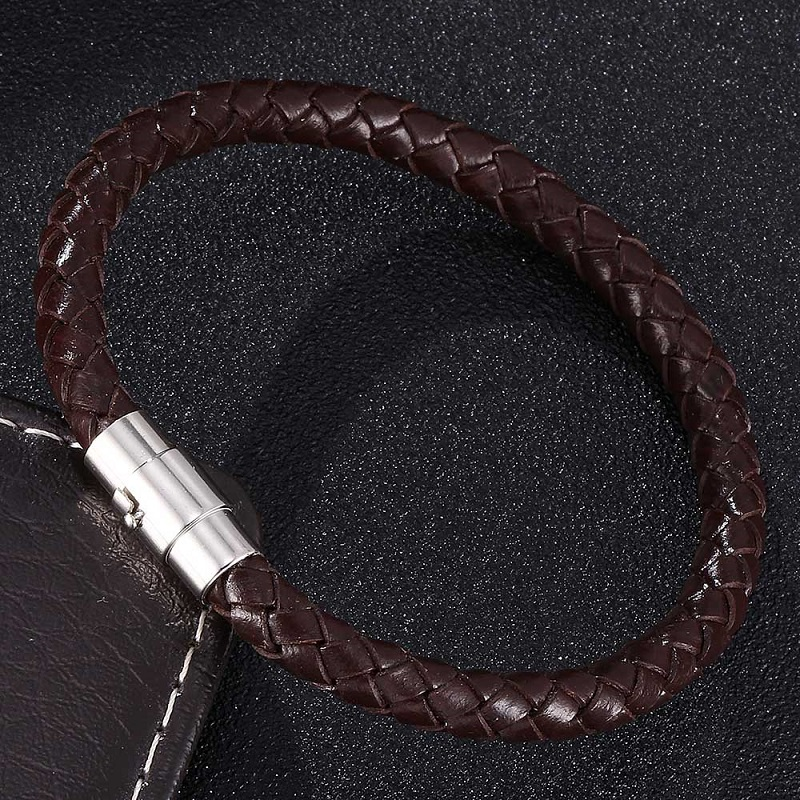Simple Bracelets for Women Men Jewelry Black Brown White Red Braided Leather Magnetic Clasp Wrist Band Bracelet Bangles ST0029 in Charm Bracelets from Jewelry Accessories