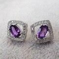 Clásico forma cuadrada pendientes de amatista natural de plata 925 hermosa cristalina púrpura genuines gem stone stud pendientes para las mujeres