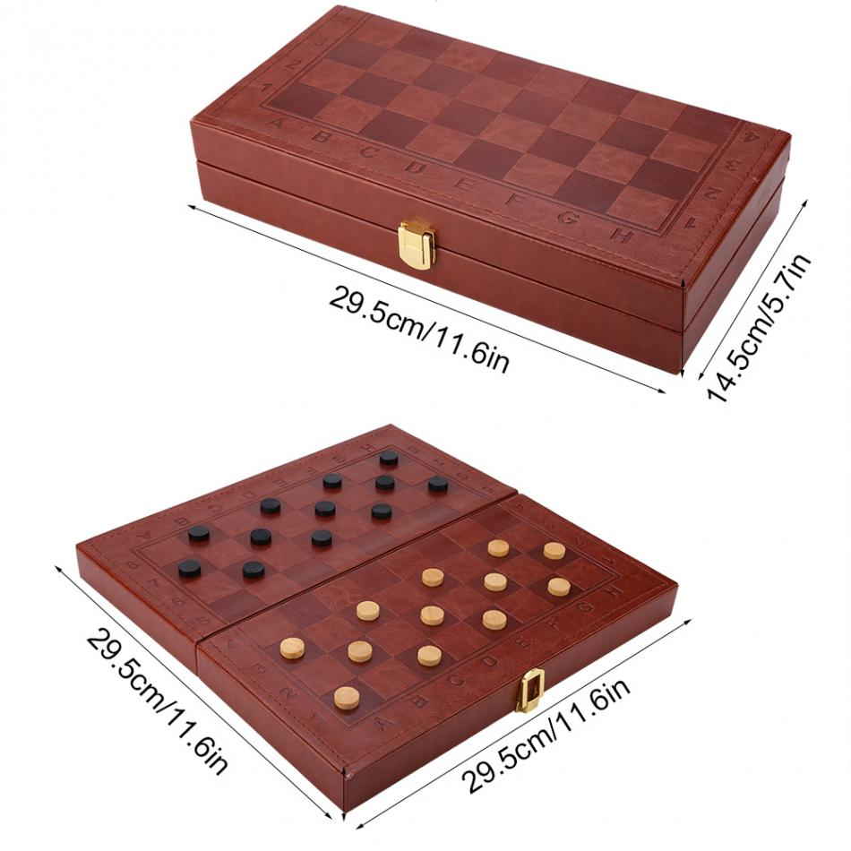 3 in 1 Portable Wooden Chess Checkers and Backgammon Board Game 11