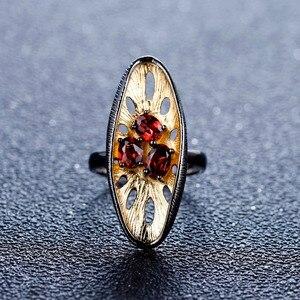 Image 2 - Gems Ba Lê Bạc 925 Đá Quý Vòng 1.54Ct Tự Nhiên Đá Garnet Đỏ Ban Đầu Tay Chanh Ngón Tay Cho Nữ, Nhẫn Nữ