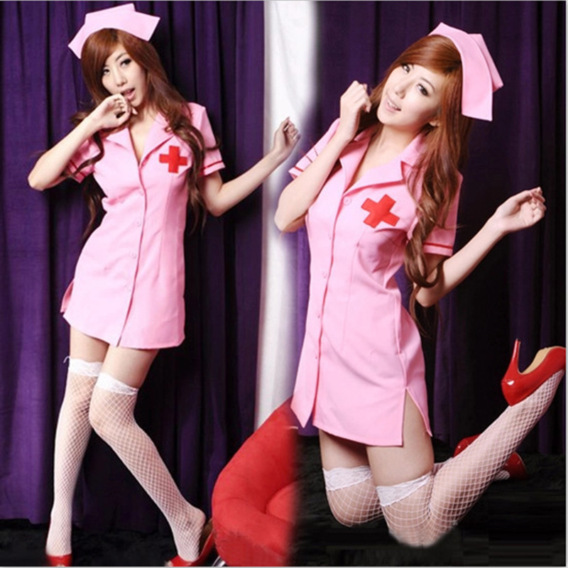 Sex Porn Industry Star Outfit Clothes Dress Fancy Model AV Sex Doll Outfit Slutty Naughty Dirty Pink Nurse Dress Uniform Stockin