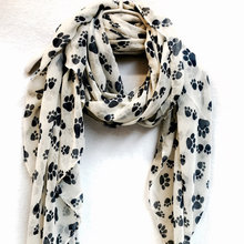 ФОТО animal paw prints off white spring & summer / autumn scarf / gift for her / womens scarves 100pcs/lot free shipping by express