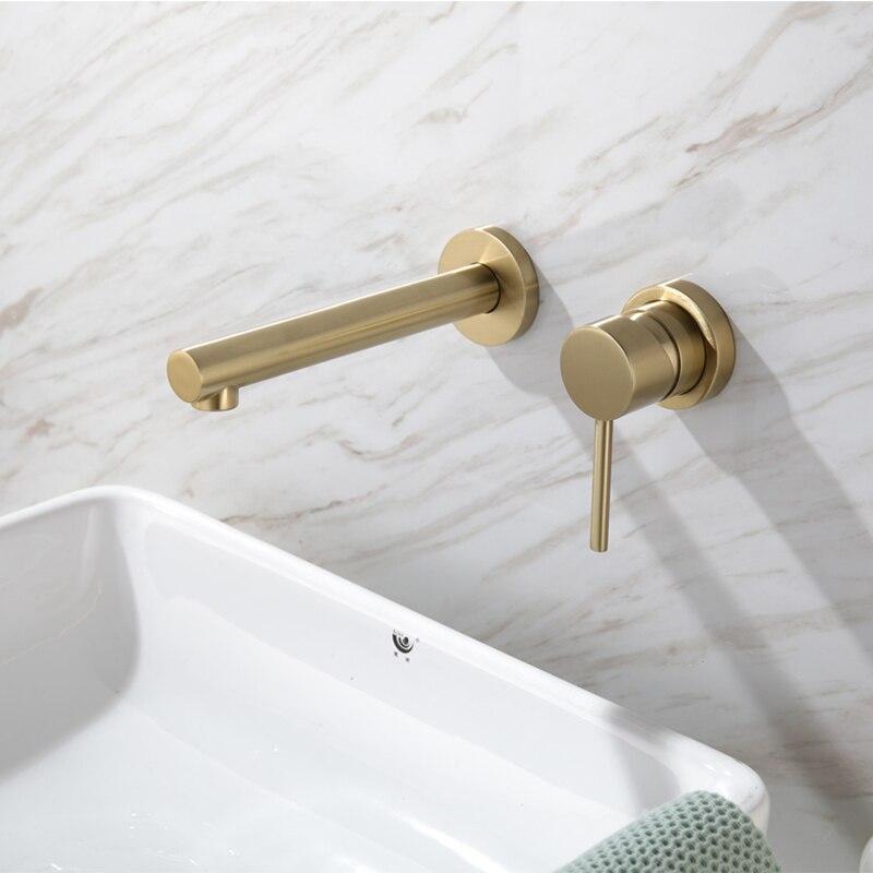 Robinet de lavabo noir brossé/mat de luxe doré mitigeur d'eau chaude et froide mural