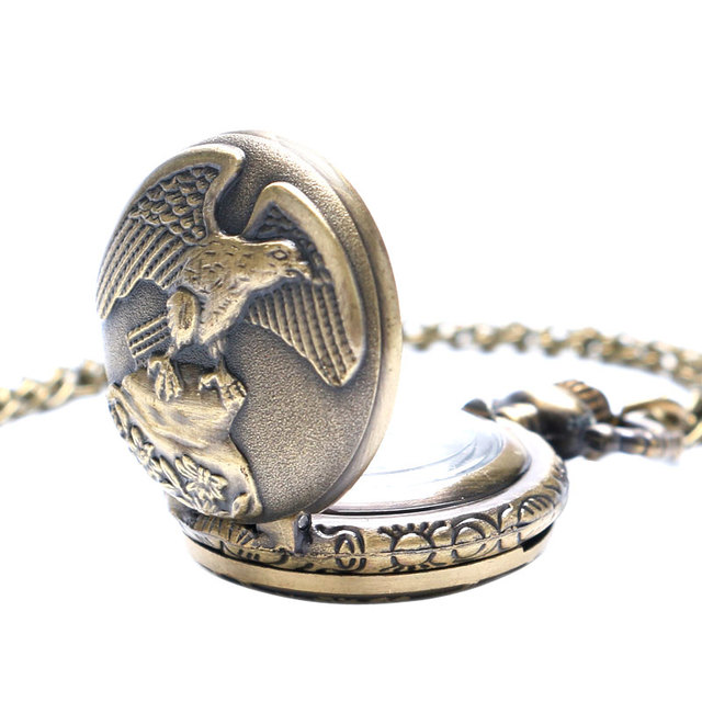 Vintage Jewelry Antique Bronze Eagle Wings Pocket Watch Small Size With Necklace Chain Gift for Men Women reloj de bolsillo