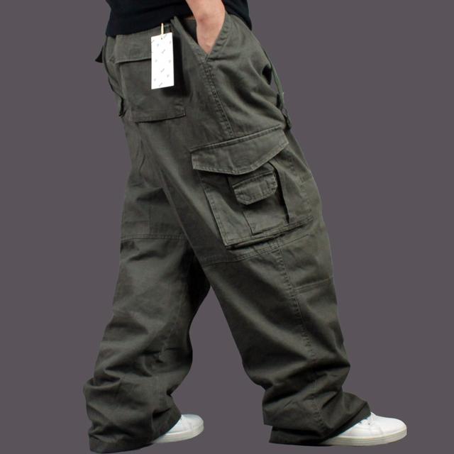 Além de grande metros calças ocasionais dos homens tamanho Fertilizantes plus-size Confortável grosso pan calças macacões soltos calças confortáveis