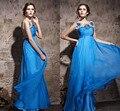 Azul real Vestido de Noche Largo Sheer Opacidad Backless Atractivo de Baile Vestido de Noche Moldeado Pesado Crystal Vestido de Las Mujeres